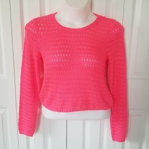 SO Pink Crop Sweater Juniors Large NWT